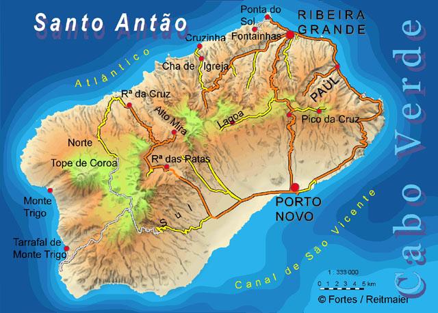 карта санта-антау, кабо-верде